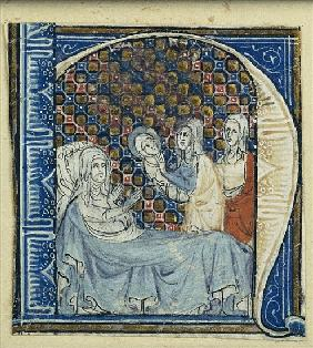Historiated initial ''H'' depicting the Birth of the Virgin, c.1320-30