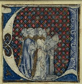 Historiated initial ''U'' depicting monks singing, c.1320-30