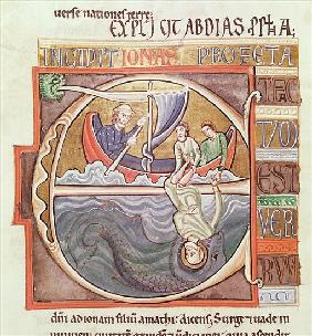 Ms 1 Fol.196v Historiated initial ''E'' depicting Jonah Thrown into the Sea, from the Souvigny Bible