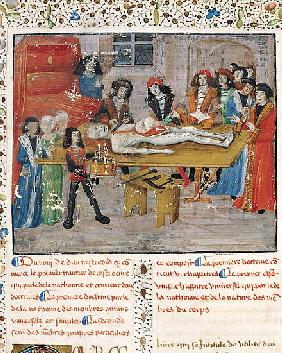 Ms H 184 fol.14v Dissection lesson at the Faculty of Medicine in Montpellier, from ''La Grande Chiru
