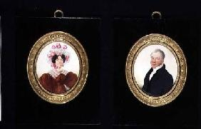 Pair of Portrait Miniatures of a Lady and a Gentleman c.1825  on