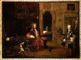 Philippe d'Orleans (1647-1723) and King Louis XV (1710-74) in the Grand Dauphin Cabinet at Versaille early 18th