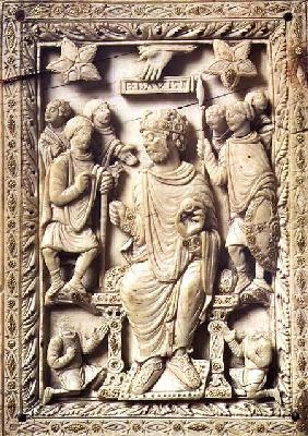 Plaque depicting King David enthroned, from Reims 9th-10th c