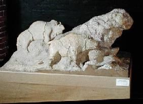 Copy of a sculpture of bisons, from Le Tuc-d'Audoubert, Magdalanian