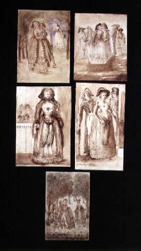 Five Sketches of Courting Lovers in the Park of Versailles 1770  & se