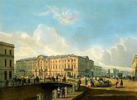 The Moyka Embankment and the Police Bridge in St. Petersburg, printed J. Jacottet and Regamey, publi