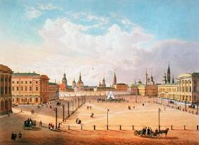 The Theatre Square in Moscow, printed by Jacottet and Bachelier 1830s