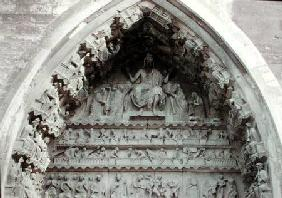 Tympanum from the left portal of the north transcept depicting the Last Judgement 1225-40