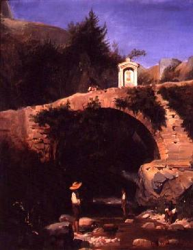 View of a Bridge and River Outside Rome 1860