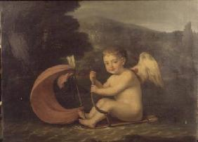 Winged Cupid, sailing a boat with quiver hull and arrow mast c.1800