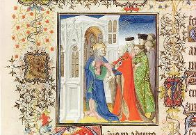 Ms Lat 919 fol.96 St. Peter Leading Jean de France (1340-1416) Duke of Berry into Paradise, from the 20th
