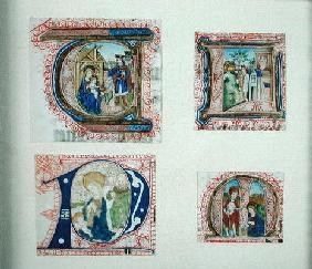 Four historiated initials depicting the Adoration of the Magi, 20th