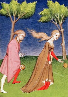 Harl 4431 f.128v Melanion races against Atalanta, casting the golden apples given to him by Aphrodit 19th