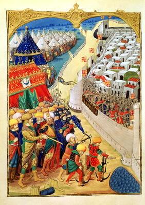 Lat 6067 f.55v The Turkish forces preparing for battle outside the walls of Rhodes in 1480, from 'A 20th