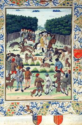Louis Malet (1441-1516) Seigneur de Graville, hunting wild boar, from the 'Terrier de Marcoussis', 1 20th