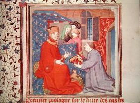 Ms Fr 131 f.1 Jean (1340-1416) Duke of Berry Receiving a Manuscript from Boccaccio, from 'Cas des No 1914