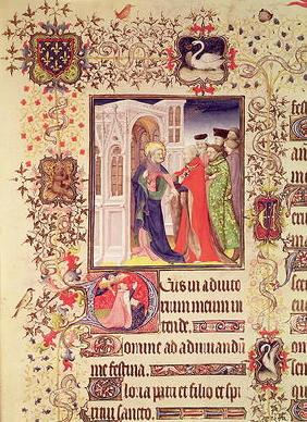 Ms Lat 919 fol.96 Jean de France, Duc de Berry being led by St. Peter into the Gates of Heaven with