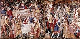 The Grape Harvest, from the 'Workshop on the Banks of the Loire' (tapestry) (see 23083 for detail) 20th