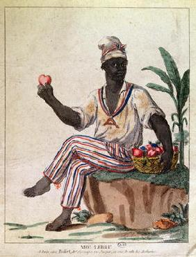 'I am Free', allegory of the first liberation of slaves in the Antilles, c.1794 (colour litho) 19th