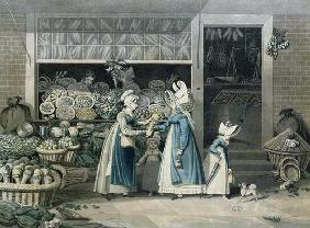 A Parisian Greengrocer's shop, early 19th century (colour litho) 1606