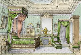 Bedroom in the Renaissance style (colour litho) 15th