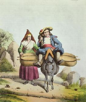 Cheese sellers from the Tarbes region, c.1840 (colour engraving) 19th