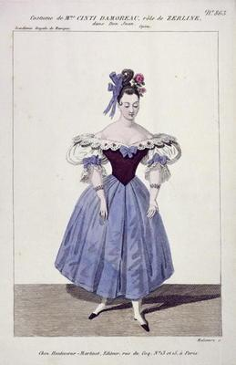 Costume for Madame Cinti Damoreau in the Role of Zerlina in 'Don Giovanni', engraved by Maleuvre, pr 19th