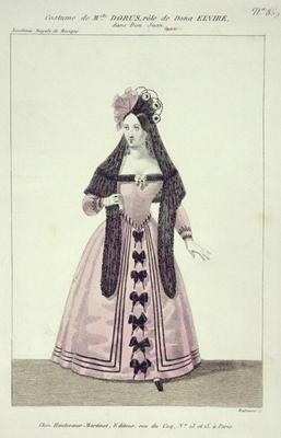 Costume for Mademoiselle Dorus in the Role of Donna Elvira in 'Don Giovanni', engraved by Maleuvre, 1493