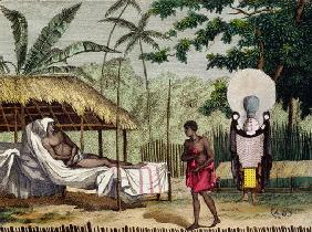 Funeral and mourning rites in Tahiti, 1811 (coloured engraving) 1409