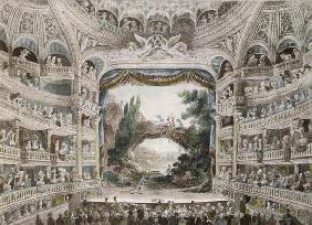 Interior of the Comedie Francaise Theatre in 1791, after an original watercolour (colour litho)
