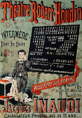 Poster advertising an appearance of Jacques Inaudi (1867-1939) at the Theatre Robert Houdin, Paris, 19th