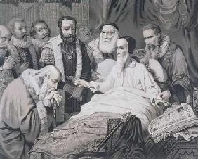 John Calvin (1509-1564) on his Death Bed (engraving) 20th