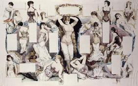 Layout illustrations for an article on women's underwear, from 'La Vie Parisienne', c.1870 (coloured 1887