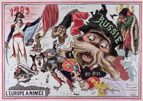 Map of 'Animated Europe' 1870 (colour litho) 1894