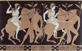 Men in combat with Amazons mounted on horseback, after an antique Greek vase (colour litho) 17th