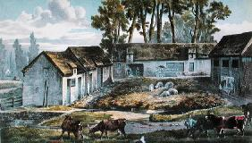 Mr Vandercolme's farm at Armbouts-Cappel (Nord) before the improvement of the manure pit, 1867 (colo 18th