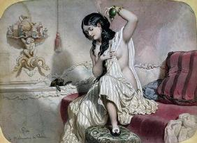 Oriental Woman at her Toilet, mid 19th century (colour litho) 18th