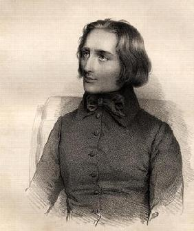 Portrait of Franz Liszt (1811-86) Hungarian piano virtuoso and composer (engraving) 19th