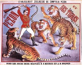 Poster advertising 'Adrien Pezon and his Tigers', c.1897 (colour litho) 19th