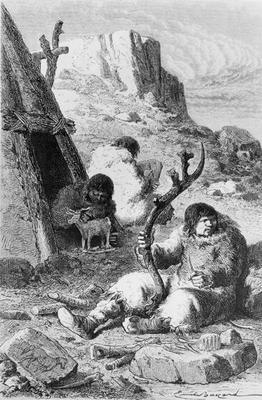 Prehistoric artists, from 'L'Homme Primitif' by Louis Figuier, published Hachette, 1870 (engraving) 1789
