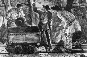 Scene in a coal mine, illustration from 'Germinal' by Emile Zola (1840-1902), 1886 (engraving) (b/w 18th