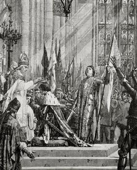 St. Joan of Arc (1412-31) at the Coronation of Charles VII (reg.1422-61) in 1429 (engraving) 19th