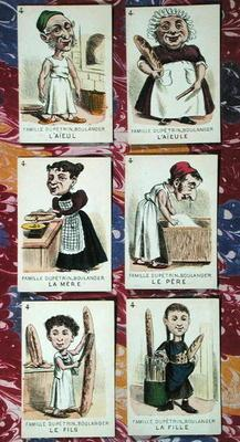 The Baker family from a 'Jeu des Sept Familles', mid 19th century (colour litho) 17th