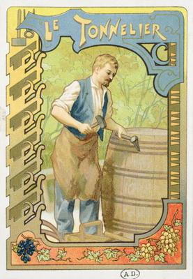 The Cooper, illustration from a book on the crafts, c.1899 (colour litho) 17th