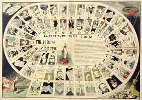 The Dreyfus Affair Game, with portraits of the various individuals involved, late 19th century (colo 1888