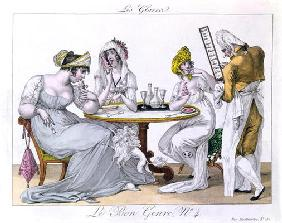 The Ice Cream, plat 4 from 'Le Bon Genre', Paris, 1827 (coloured engraving) 19th