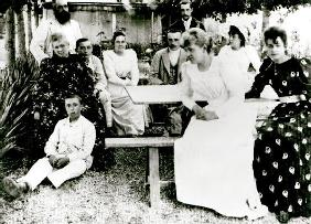 The Monet and Hoschede families, c.1880 (b/w photo) 19th