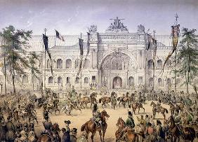The Palais de l'Industrie at the Exposition Universelle in 1855 (coloured engraving) 17th