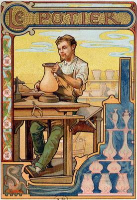 The Potter, illustration from a book on the crafts, c.1899 (colour litho) 1768
