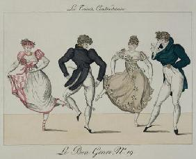 The 'Trenis' Quadrille, plate 19 from 'Le Bon Genre', 1805 (coloured engraving) 20th